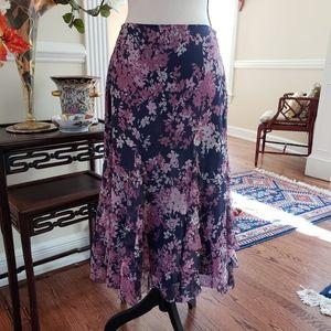 Calvin Klein Silk Floral Ruffle Skirt - EUC 4P
